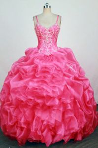 Straps Hot Pink Beaded Appliques Quinceanera Dress in Corrientes Argentina