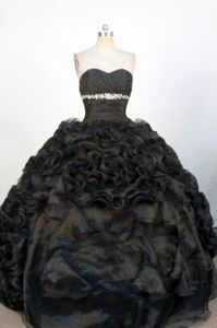 Ruffles Sweetheart Black Beading Quinceanera Dress in Avellaneda Argentina