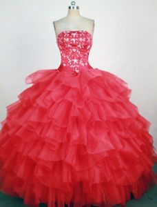 Ruffles Strapless Hot Pink Beaded Quinceanera Dress in Quillacollo Bolivia