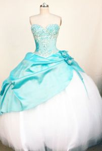 Sweetheart Light Blue Beading Quinceanera Dress in Tiquipaya City Bolivia