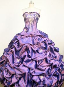 Handmade Flowers Appliques Strapless Purple Taffeta Quinceanera Gown