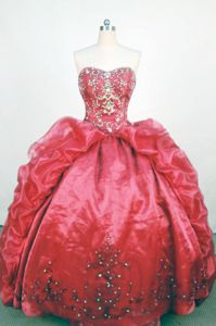 Affordable Beaded Strapless Appliques Pick Up Red Quinceanera Dress
