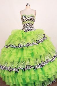 Zebra Fabric Sweetheart Sash layers Ruffled Quinceanera Dresses in 2014