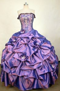 Hand Made Flower Strapless Pick Up Purple Switzerland Dress for Quince
