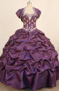 Dark Purple Sweetheart Pick Up Quinceaneras Dress with Matching Jacket