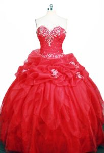 Sweetheart Appliques Ruched Pick Ups Red Organza Quinceanera Gown