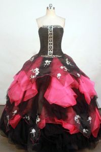 Organza Strapless Bead Applique Black and Fuchsia Quinceanera Gowns