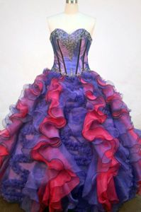Multi-color Sweetheart Applique Satigny Switzerland Quinceanera Dress