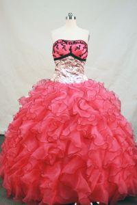 Leopard Fabric Strapless Organza Riehen Switzerland Sweet 15 Dresses