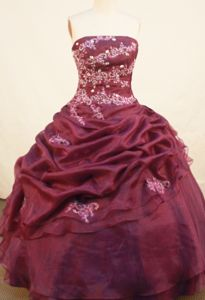 Strapless Appliques Burgundy Quinceanera Gown in Reinach Switzerland