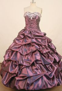 Sweetheart Ruche Beading Embroidery Pick Up Dark Purple Quince Dress