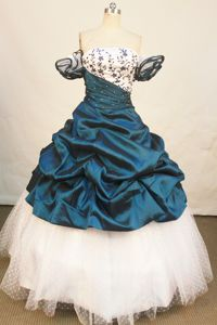 Off The Shoulder Polka Dot Appliques Beading Blue Sweet 16 Dresses