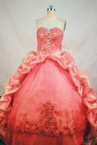 Beading and Appliques Sweetheart Pick Up Orange Red Sweet 15 Dresses