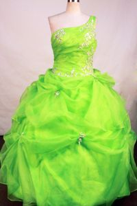 One Shoulder Appliques Beading Spring Green Quinceanera Gown Dress