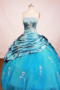 Blue Strapless Appliques Beading Floor-Length Taffeta Quince Gowns