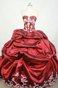 fa325fdd09 Pick Ups and Appliques Sweetheart Taffeta Wine Red Quinceanera Dress