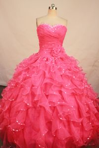 Scatter Beading Sweetheart Ruched Ruffles Watermelon Dress for Quince