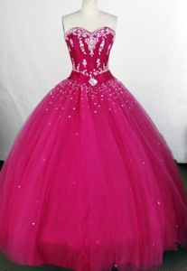 Tulle Beading Sweetheart Embroidery Fuchsia Long Quinceaneras Gowns