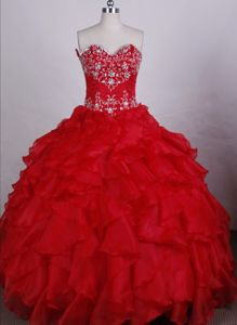 Sweetheart Beading Layers Red Organza Lace Up Quinceanera Gowns