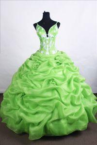 Spring Green Applique Quinces Dress Has Straps and Handmade Flower