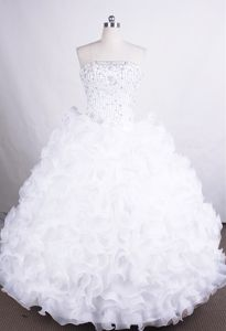 Pure Strapless Beading Ruffled Organza Lace Up Dresses for Quincean