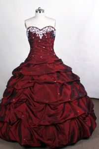 Detachable Sweetheart Applique Ruched Pick Up Taffeta Dress for Quince