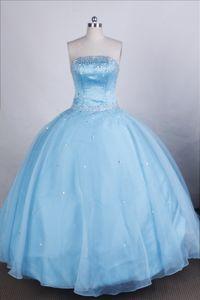 Simple Strapless Beading Blue Losone Switzerland Quinceanera Dresses