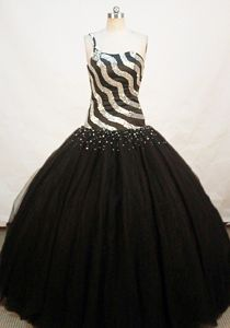 Black and White Sequin One shoulder Beading Tulle Sweet 15 Dresses