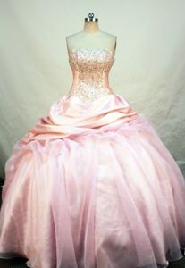 Ball Gown Strapless Pick Ups Beading Baby pink Quinceanera Dresses