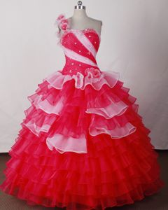 One Shoulder Handmade Flower Ruched Ruffles Layers Sweet 16 Dresses