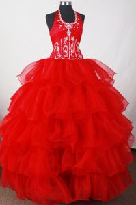 Halter Beading Ruffled Red Quinceaneras Dresses in Horgen Switzerland