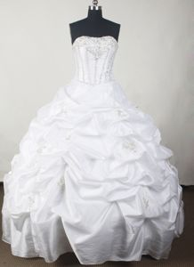White Strapless Beading Pick Ups Taffeta Bush Train Quinceanera Gown