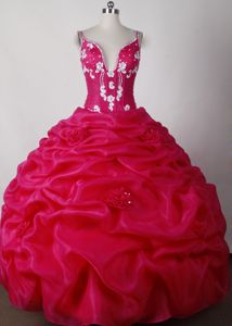 Sexy Straps Pick Ups Appliques Hot Pink Quinceanera Gown Dresses