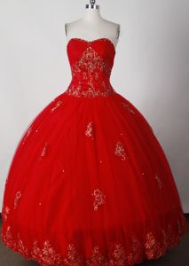 Appliques Strapless Red Grosshchstetten Switzerland Quinceanera Gown