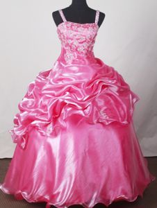 Gland Switzerland Straps Beading Pick Ups Pink Dress for Quinceanera