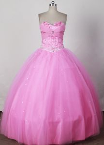 Pink Strapless Beading Puffy Gimmelwald Switzerland Dresses for Quince