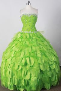 Strapless Beading Strapless Spring Green Fribourg Sweet 15 Dresses