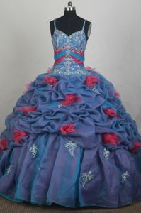 Multi-color Straps Beading Applique Pick Ups Quinceanera Gown Dresses