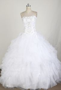 Ruffled Strapless Beading Organza Sweet Sixteen Quinceanera Dresses
