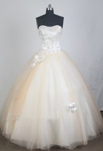 Champagne Flowers Strapless Floor-length Quinceanera Gown Dresses