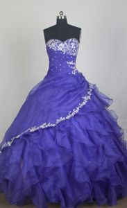 Ecne Switzerland Layers Sweetheart Ruffled Blue Dress for Quinceanera