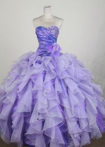 Sweetheart Beading Ruched Lavender Sweet Sixteen Quinceanera Gown