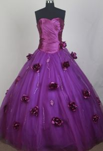 Sweetheart Flowers Eggplant Purple Sweet 15 Dress in Davos Switzerland