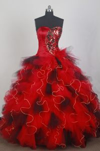 Lace Up Sweetheart Ruffles Red and Black Organza Quinceaneras Dress