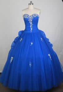 Blue Appliques Sweetheart Pick Ups Tulle Lace Up Quinceanera Gowns