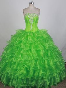 Spring Green Strapless Applique Ruffles Cham Switzerland Quinces Dress