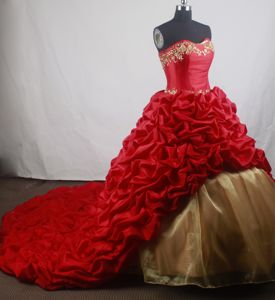 Court Train Sweetheart Beads Pick Ups Red and Gold Quinceanera Gown