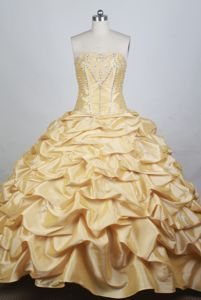 Beading Strapless Pick Ups Yellow Sweet Sixteen Quinceanera Dresses