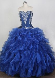 Popular Sweetheart Appliques Blue Sweet 15 Dresses in Brig Switzerland