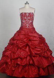Pick Ups Strapless Beading Taffeta Floor-length Red Quinceaneras Dress
